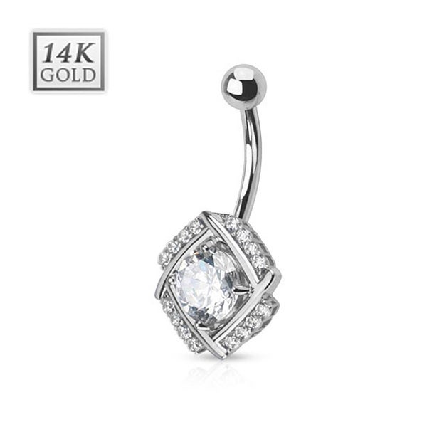 Diamond Cut Round CZ Pronged in Multi Paved Windmill 14 Karat Solid White Gold Navel Belly Button Ring with