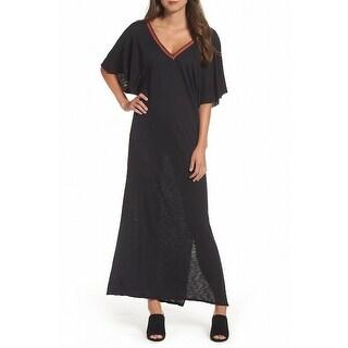 Elan Black Women's Size Small S V-Neck Swimwear Open-Back Cover-Up