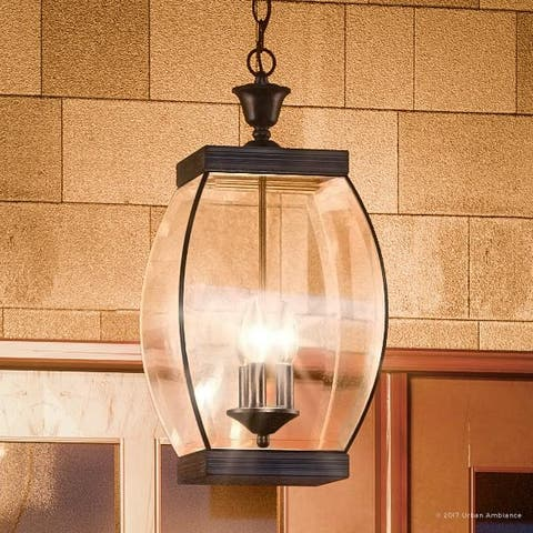 """Luxury Colonial Outdoor Pendant Light, 20.5""""H x 9""""W, with Transitional Style, Bowed Design, Medieval Bronze Finish"""