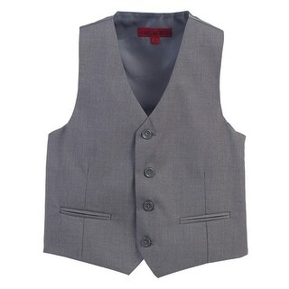 Gioberti Big Boys Grey Solid Color Four Button Classic Formal Vest