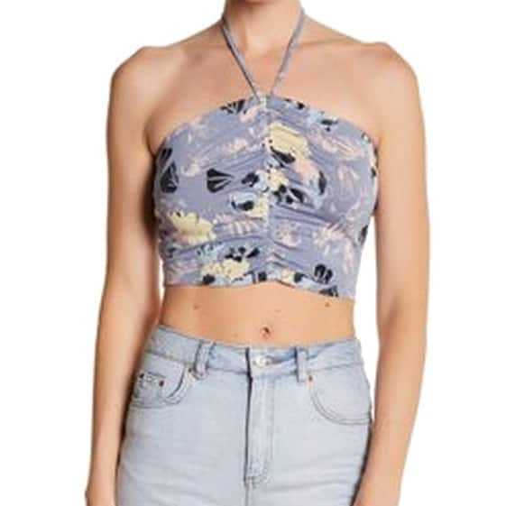 77b982be5d4926 Abound NEW Blue Yellow Womens Size Medium M Floral-Print Halter Top. Image  Gallery