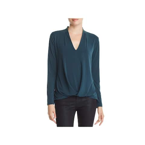Kenneth Cole Womens Blouse V-Neck Hi-Low