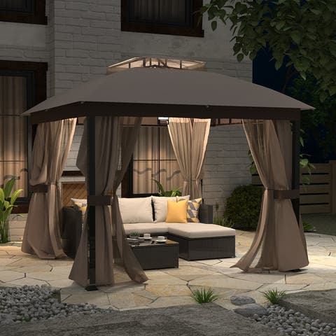 HSCW 10x10 Gazebo with Mosquito Netting and Privacy Curtain Outdoor Patio Gazebo