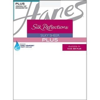 Hanes Silk Reflections Plus Sheer Control Top Enhanced Toe Pantyhose - Size - 3P - Color - White