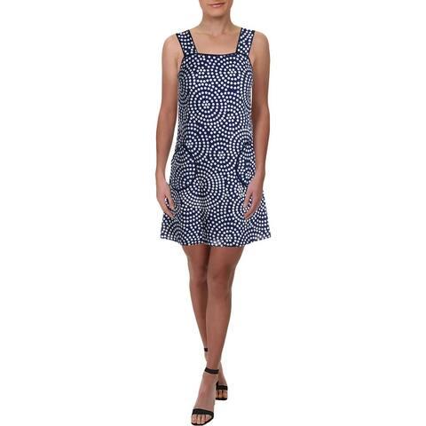 Julie Brown Womens Lily Mini Dress Linen Blend Polka Dot - Navy Lily Pond