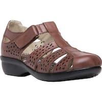 Propet Women's April Fisherman Sandal Brown Full Grain Leather