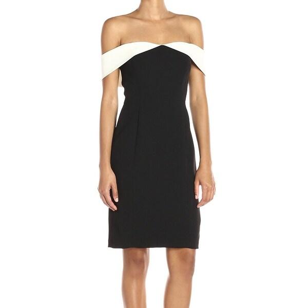 c536ef4d2e92 Shop Calvin Klein NEW Black White Womens Size 8 Off-Shoulder Sheath ...