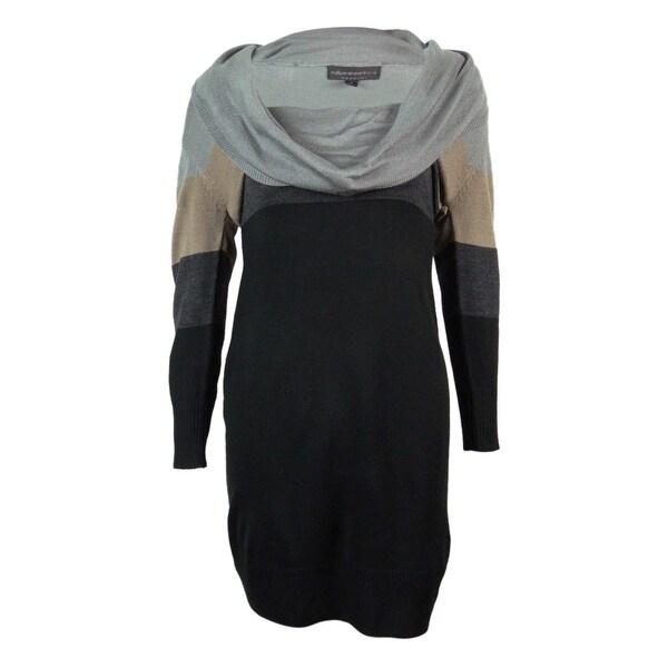 shop connected women u0026 39 s color block cowl neck sweater dress - black  deep heather