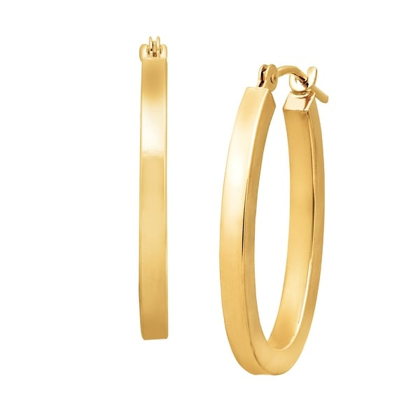 Just Gold Oval Square Tube Hoop Earrings in 14K Gold - YELLOW