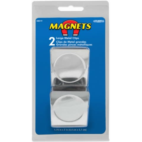 """The Magnet Source 08019 Chrome Plated Large Metal Magnetic Clips, 1.75""""x2"""", 2 PC"""