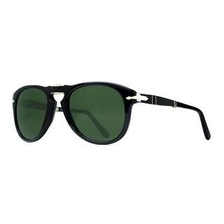 Persol PO 714 95/58 52mm Shiny Black/Green Polarized Folding Sunglasses - Shiny Black - 52mm-21mm-140mm