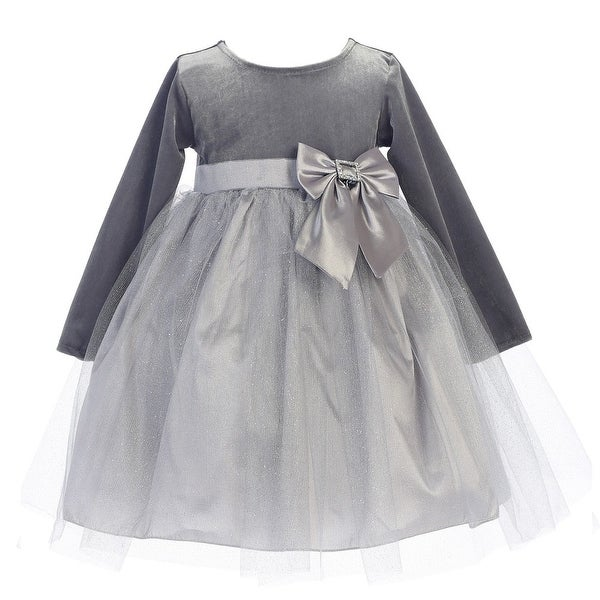 55a8e1cad6a Little Girls Silver Velvet Bow Accent Glitter Tulle Occasion Dress 2T-6