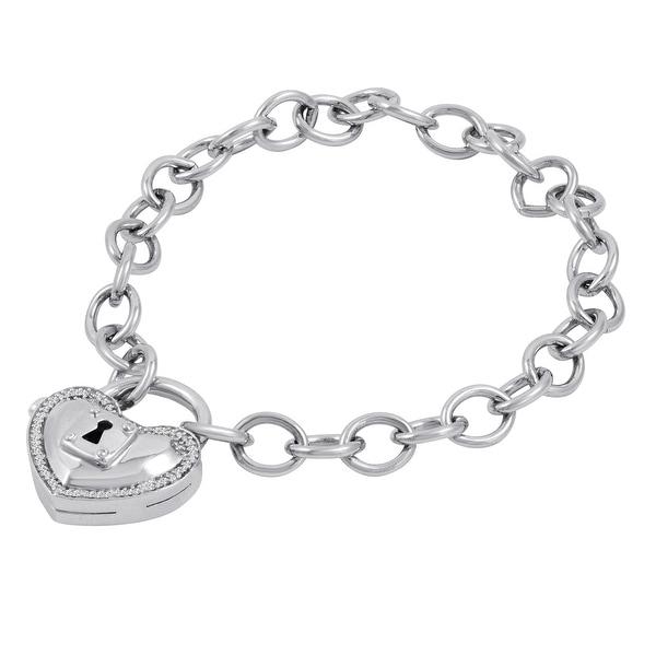 Locking Love 1/10 CT. T.W. Diamond Heart-Shaped Lock Charm Bracelet in Sterling Silver  - White J-K