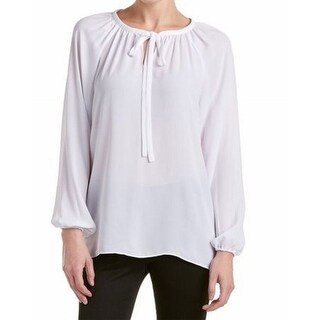 Catherine Malandrino NEW White Women's Size XL Neck Tie Peasant Blouse