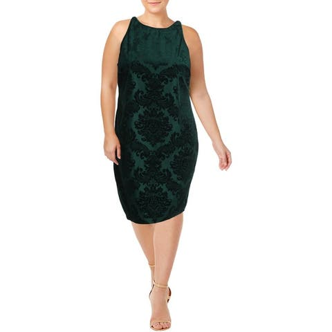 B. Darlin Womens Plus Halter Dress Juniors Velvet - Emerald