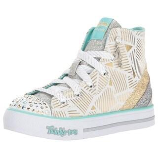 Skechers Kids Girls' Step Up-Glitzy Kicks Sneaker,White/Gold,1.5 M Us Little Kid