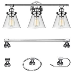 "Globe Electric 51234 Parker 3 Light 24-5/8"" Wide Bathroom Vanity Light - Towel Bar, Towel Ring, and Paper Holder Included"