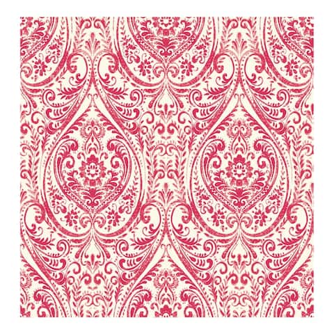 Gypsy Red Damask Wallpaper - 20.5in x 396in x 0.025in
