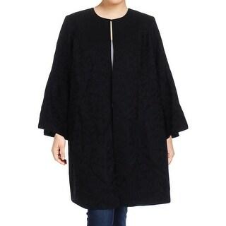 Calvin Klein Womens Plus Jacket Bell Sleeves Jacquard