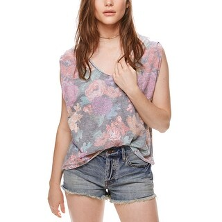 Free People Gardenia Printed High Low T-Shirt Tropical Combo
