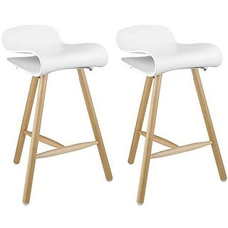 """2xhome Set of Two (2) White 26.5"""" Modern Style Tri-Leg Backless Barstool With Natural Wood Legs"""
