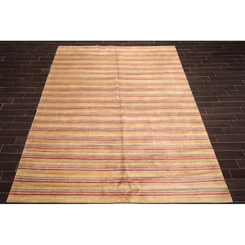 Hand Knotted High End Designer Gold,Burgundy Tibetan Oriental Area Rug Hemp & Silk Contemporary Oriental Area Rug (9x12)