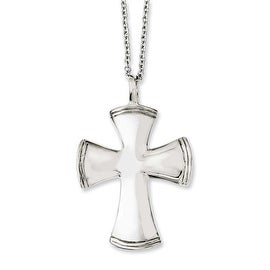 Chisel Stainless Steel Polished Cross 18in Necklace (2 mm) - 18 in
