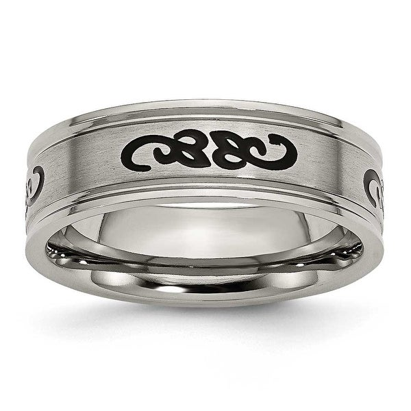 Chisel Titanium with Black Rubber Scroll Design 7mm Band