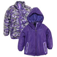 Rugged Bear Girls 2-in-1 System Winter Coat Hooded Camo Cheetah Quilted Jacket