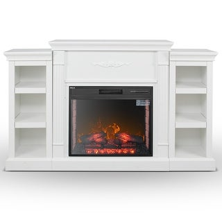 DELLA Hollow White Bookcase Infrared Electric Fireplace 28 Inch
