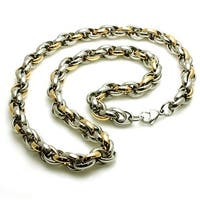 Two-Tone Stainless Steel Rolo Necklace 22""