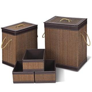 Gymax 5 PCS Square Bamboo Hamper Open Box Laundry Basket Storage Bin Organizer Basket - as pic