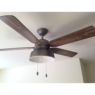 """Hunter Fan 52"""" Mill Valley Matte Silver w / 5 Pine / Walnut Rev. Blds"""