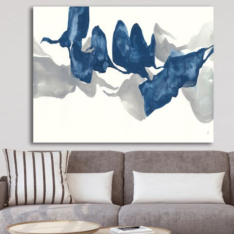 Designart 'Gouache Sapphire on Gray' Modern Canvas Wall Art - Blue