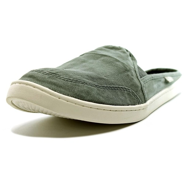 Sanuk Dree Me Cruiser Women Round Toe Canvas Gray Mules