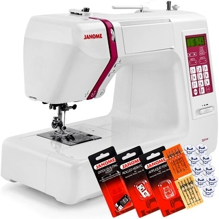 Janome DC5100 Computerized Sewing Machine With Free 6-Piece VIP Package - White