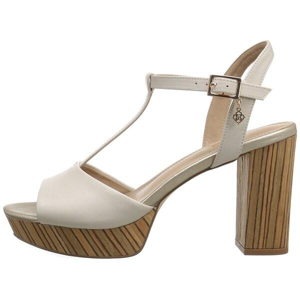 Nanette Lepore Womens Venus Leather Open Toe Casual T-Strap Sandals