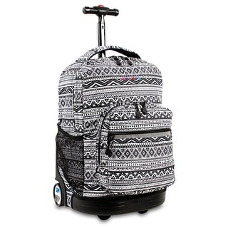 J World New York Sunrise 18 Inch Rolling Backpack, Tribal