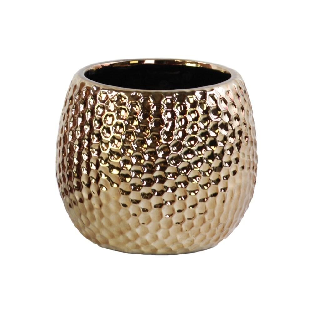Honeycomb Pattern Ceramic Vase In Round Shape, Bronze