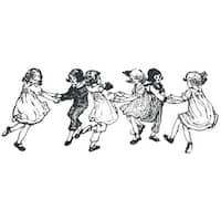 "IndigoBlu Cling Mounted Stamp 5""X4""-Dancing Children"