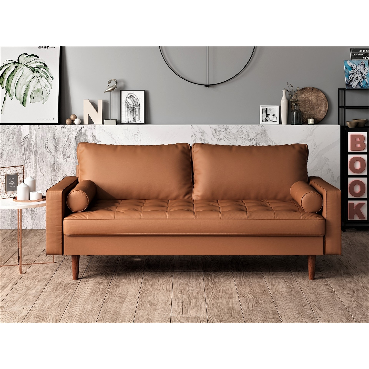 Picture of: Shop Black Friday Deals On Us Pride Faux Leather Mid Century Modern Sofa On Sale Overstock 25994629