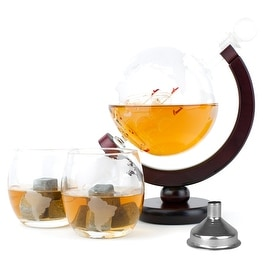 Atterstone Whiskey Decanter Set with Whiskey Stones Gift Set, Globe Glasses and Funnel - 850ml Globe