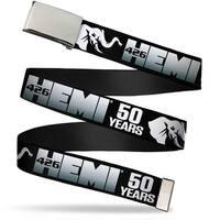 Blank Chrome Bo Buckle Hemi 426 Elephant Logo 50 Years Black White Web Belt