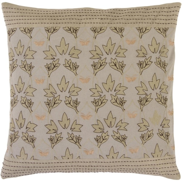 "18"" Light Brown and Ivory Leaf Floral Themed Square Throw Pillow - Down Fillers"