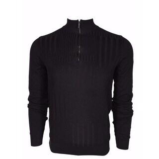 BOSS Hugo Boss Black Label $195 Slim Fit Zip Neck Sweater Shirt SMALL