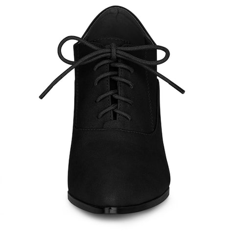 Women's Pointed Toe Lace Up Chunky Heel Ankle Boots