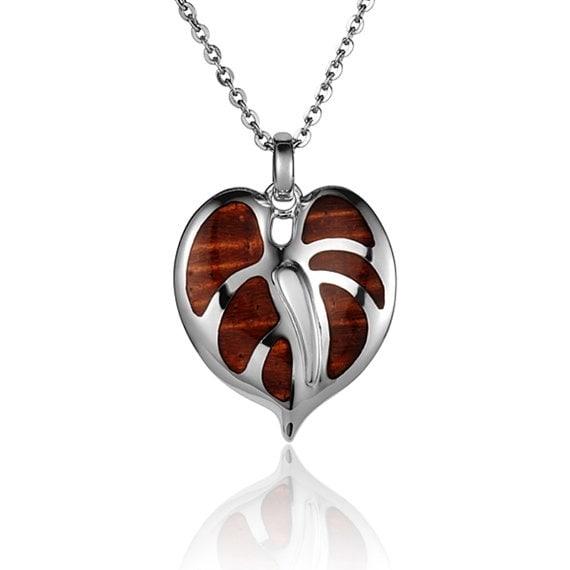 "Anthurium Flower Necklace Koa Wood Sterling Silver Pendant 18"" Chain"
