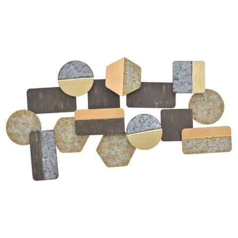 Plutus Brands Geometric Wall Decor in Multi-Colored Metal