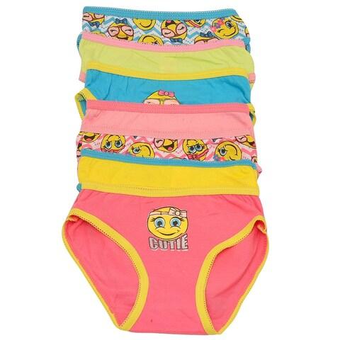 Sweet n Sassy Little Girls Multi Emoji Happy Face 7 Pc Underwear Pack