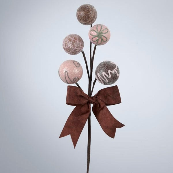 """12"""" Brown Glittering Confection Candy Balls with Bow Christmas Pick"""